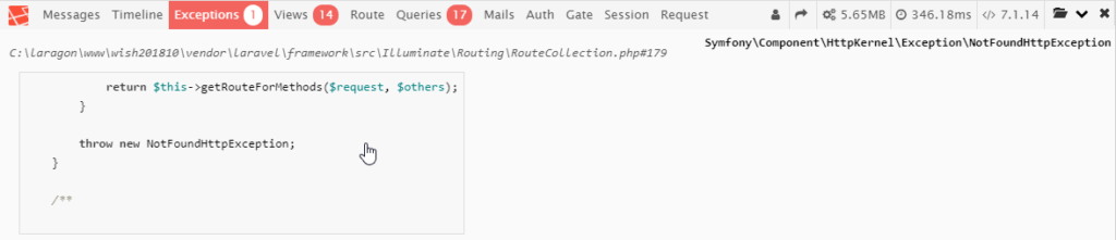 "Laravel debugbar : onglet ""Exceptions"""