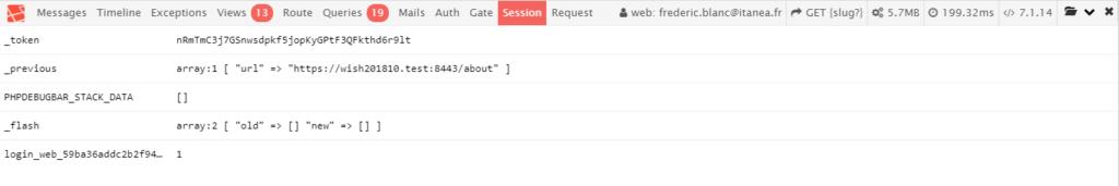 "Laravel debugbar : onglet ""session"""