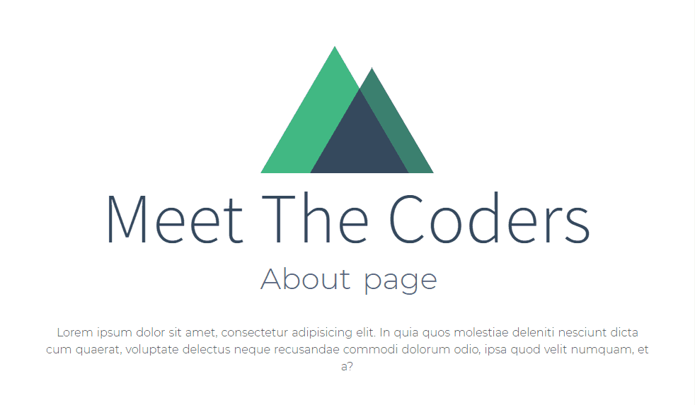Meet The Coders - Notre page 'about' directement plugguée sur le fichier resources/pages/about.vue