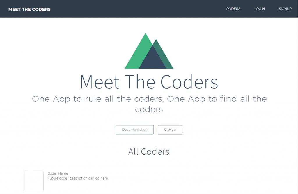 Meet the Coders - Nuxt.js - Page d'accueil après intégration de la barre de menu et d'un peu de CSS dans nos templates