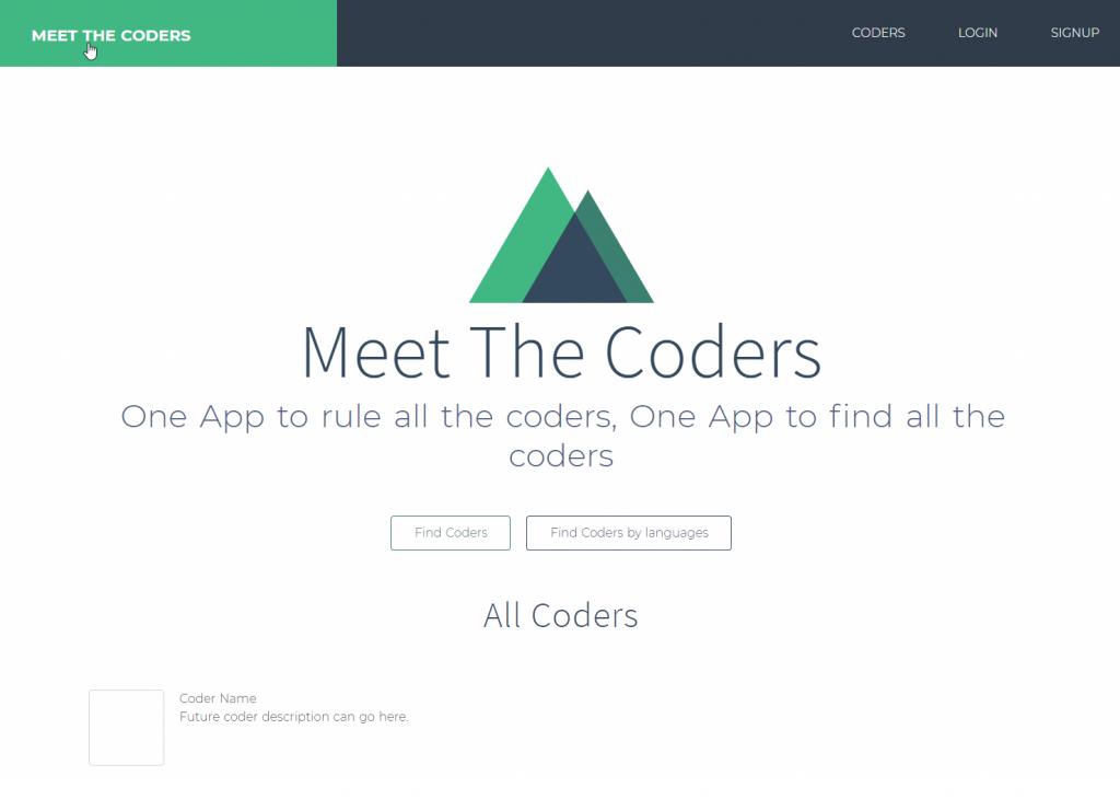 Meet the Coders - Nuxt.js - L'apparence de notre site après avoir redéfini les boutons dans les templates