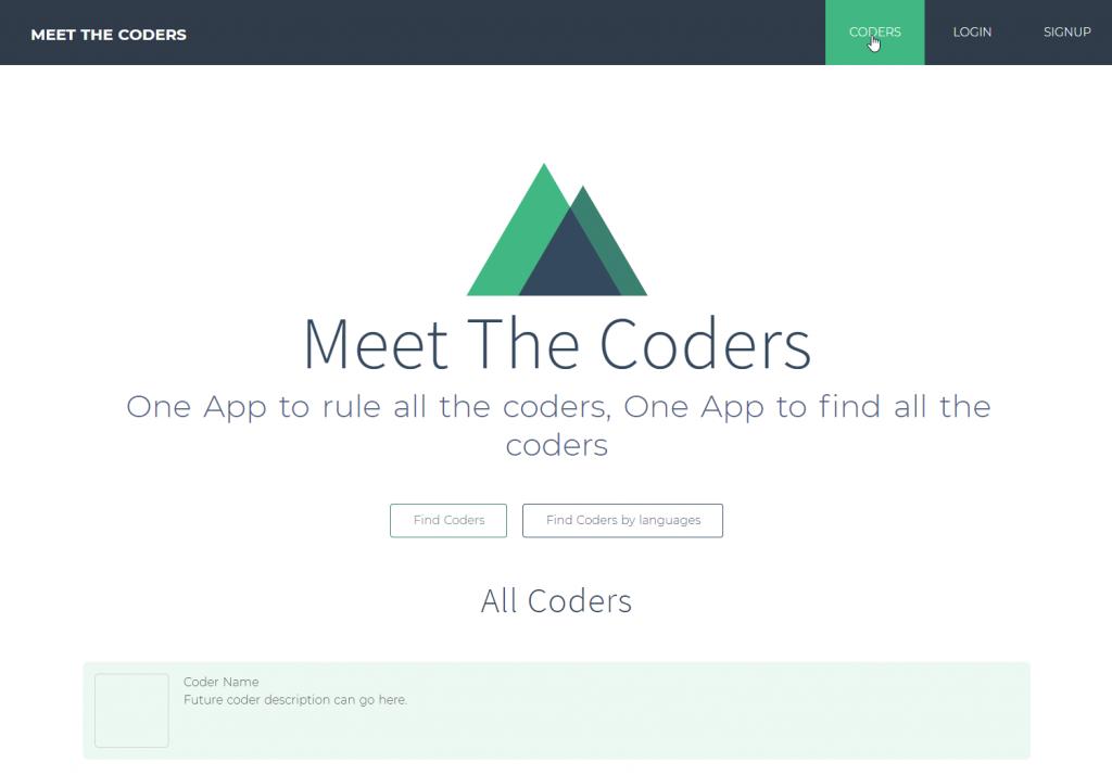 Meet the Coders - Nuxt.js - L'apparence de notre site après la mise en place des templates