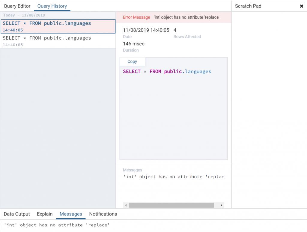 PgAdmin 4 : erreur 'int' object has no attribute 'replace'