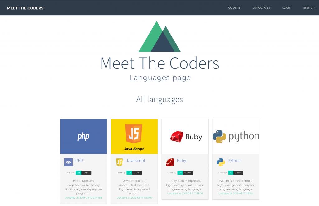 """Controllers d'Adonis.js : Notre objectif   La page Languages """"améliorée"""" de notre application Meet The Coders"""