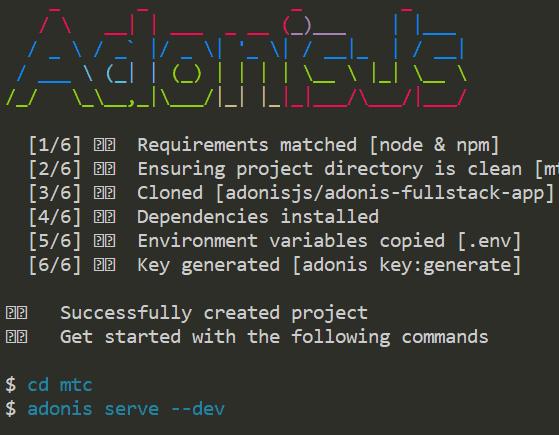 L'installation d'Adonis.js en ligne de commande