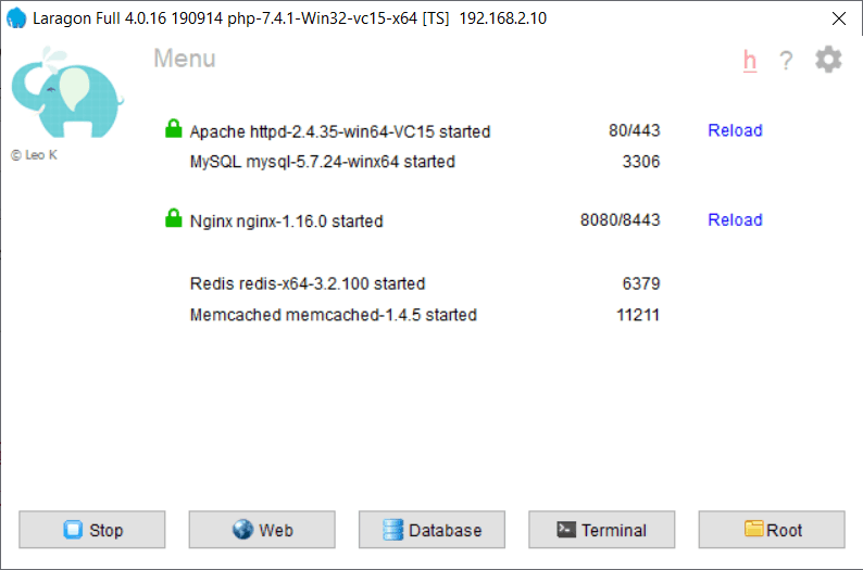 Redis est en version 3.2 sur Laragon 4