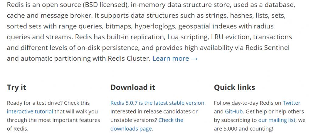 Redis est en version 5.0.7 en janvier 2020