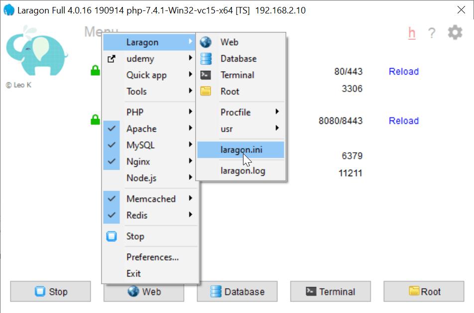 Configuration de laragon pour notre nouvelle version de redis