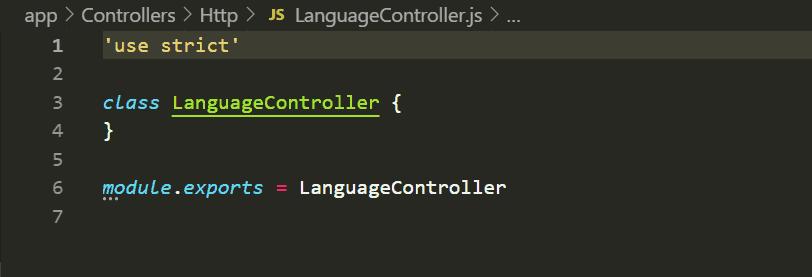 Controllers d'Adonis.js : Code LanguageController.js généré par défaut par Adonis
