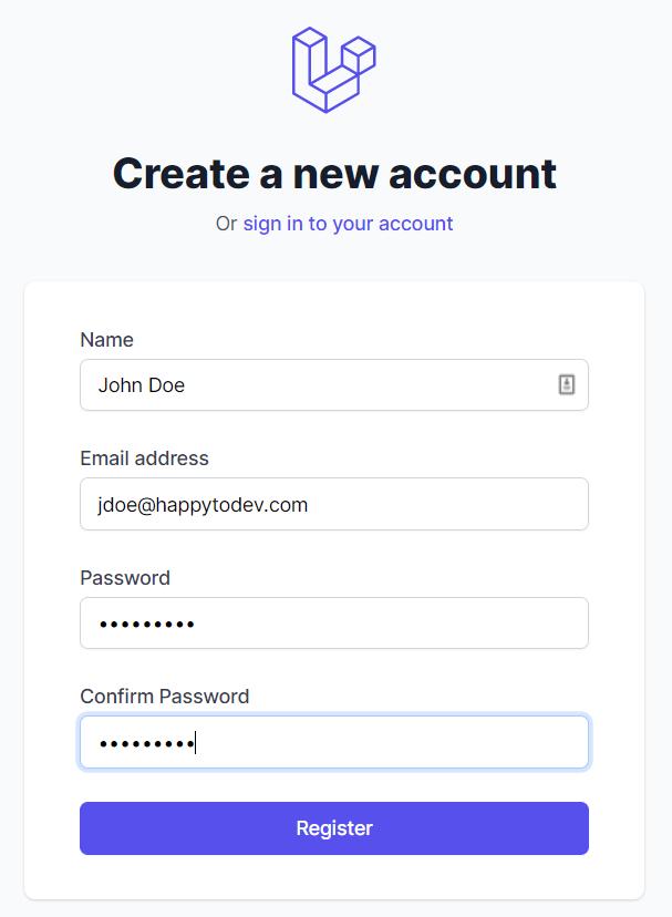 On crée notre premier utilisateur dans le formulaire sous le Tall preset