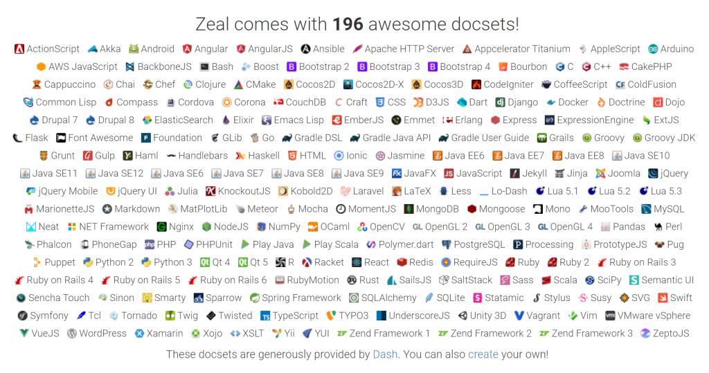 zeal, liste des docs supportées