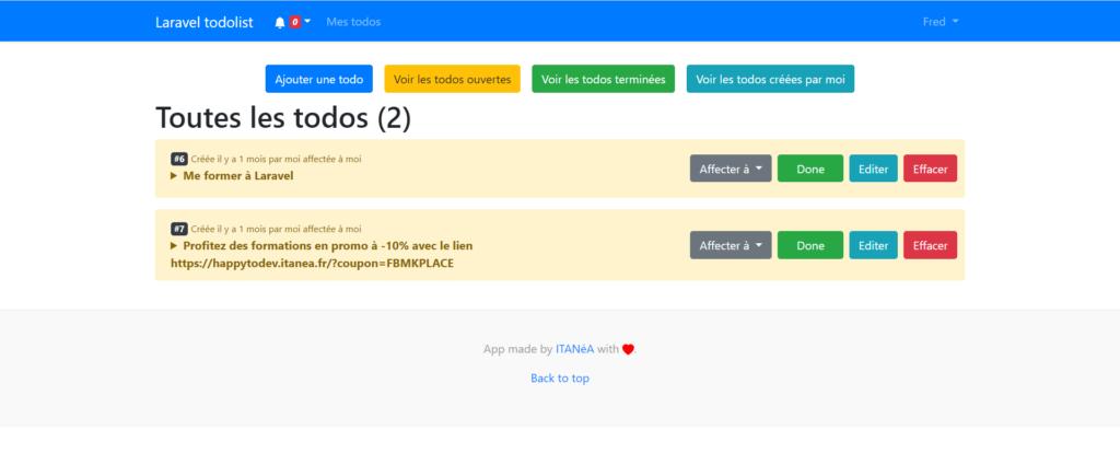 Formation Laravel, capture d'écran de l'application que tu vas réaliser